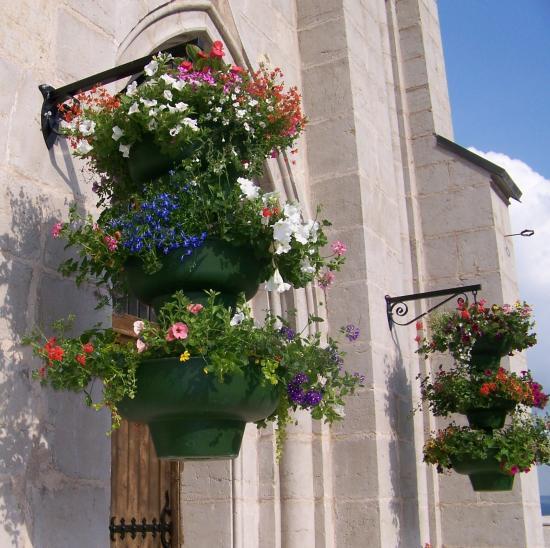 Vasques fleuries suspendues