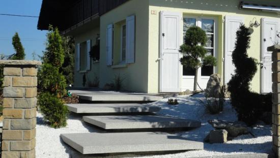 Terrasse avec dalles emmarchement